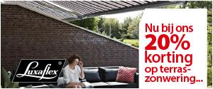 Luxaflex-actie: 20% korting op terraszonwering